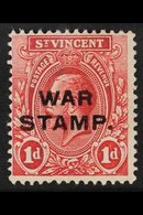 """1916  1d Red """"WAR TAX"""" Overprint Third Setting Words 1½mm Apart, SG 123, Mint, Fresh. For More Images, Please Visit Http - St.Vincent (...-1979)"""