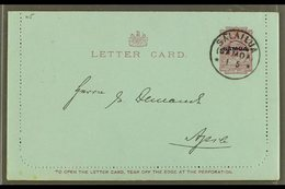 1916  One Penny Dull Claret On Blue (note Along Bottom 94mm Long) LETTER CARD, H&G 1a, Very Fine With Unstuck Margins, A - Samoa