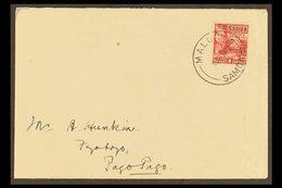 "1930  (9 Jun) Env To American Samoa Bearing Samoa 1921 1d Hut Stamp Tied ""MALUA"" Cds With Apia Transit Cds Of 10 Jun On  - Samoa"