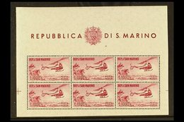 1961  1000L Carmine, Helicopter Miniature Sheet, Mi. 696 Klb, Sassone 22, Superb Never Hinged Mint. For More Images, Ple - San Marino