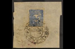 1932  1/3t Grey Blue, Shiny Enamel Paint, SG 2B, Fine Used On Native Paper Fragment With LHASSA Cancel. For More Image - Tibet