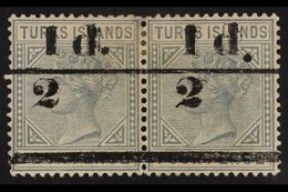 1893  ½d On 4d Grey, Bars 11.75mm Apart, SG 68, Mint HORIZONTAL PAIR, Light Even Gum Toning And Small Thin. For More Ima - Turks And Caicos