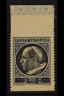 """1945-46  5L On 2L50 Black & Blue, """"Pius XII"""" HORIZONTALLY IMPERFORATE (at Top & Bottom), Top Margin Example, Sassone 107 - Unclassified"""