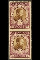 """1946  1L Sepia & Purple """"St Cajetan Of Thiene"""" Vertical Pair IMPERF IN-BETWEEN VARIETY, Sass 114L, Never Hinged Mint For - Unclassified"""