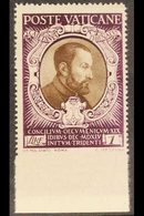 """1946  1L Sepia & Purple """"St Cajetan Of Thiene"""" IMPERF AT BASE VARIETY, Sass 114e, Never Hinged Mint For More Images, Ple - Unclassified"""