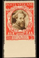 """1946  3L Sepia & Scarlet """"Marcello Cervini"""" IMPERF AT BASE VARIETY, Sass 118e, Never Hinged Mint For More Images, Please - Unclassified"""