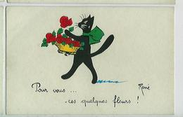CP Illustrateur Signé RENE- Chat Humoristique - Quatre Cartes Postales - Otros Ilustradores