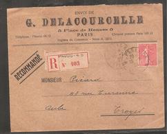 Enveloppe RECOM  Avec  85  C  Semeuse   Oblit  PARIS  1925 - France