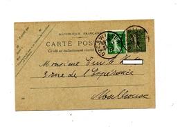 Carte Postale 15 C + Timbre Semeuse Cachet Guebwiller - Postwaardestukken