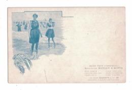 """CARTOLINA PUBBLICITARIA BERGER & WIRTH Inchiostri Da Stampa """"Ragazze Al Mare"""" - Au Bon Marché"""