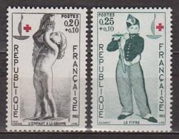 Croix Rouge - Sculpture: L'enfant à La Grappe - FRANCE - Peinture, Le Fifre De Manet - N° 1400-1401 * - 1963 - Nuevos