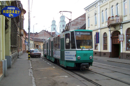 Oradea (Roumanie)  Tramway D'Oradea - 6 Juin 2006  - Rue Primariei - Tramway Tatra KT4D N°221 - Tranvía