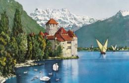 AL26 Lac Leman, Le Chateau De Chillon Et Les Dents Du Midi - Swans, Boats - VD Vaud
