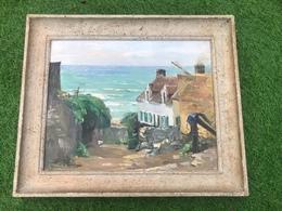 Maurice F. PERROT (1892-1935) Huile Oil Original Sur Panneau De Bois Intitullée Ruelle à Equinen Sigéne 40 X 32 Cm - Oils