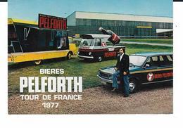 CP -  TOUR DE FRANCE 1977 ALAIN FARELLI ANIMATEUR DES BIERES PELFORTH - Reclame