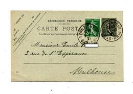Carte Postale 15 C Semeuse Cachet  Schiltigheim - Entiers Postaux