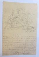 Handgemalt, Haus, Garten, Fluss,Schiff,1901, Bahnpost,Halle Saale-Cassel♥(65199) - Non Classés