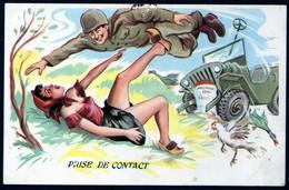 Libération Guerre 1939 1945 Humoristique Prise De Contact Soldat Américain    écrite    V Explic - Humor