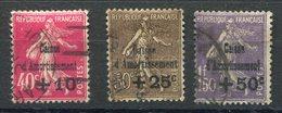 RC 14733 FRANCE N° 266 / 268 SERIE CAISSE D'AMORTISSEMENT COTE 150€ OBLITÉRÉE TB - France