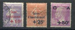 RC 14735 FRANCE N° 249 / 251 SERIE CAISSE D'AMORTISSEMENT COTE 85€ OBLITÉRÉE TB - France