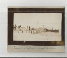 """ARCACHON (GIRONDE) PHOTO LE DEBARCADERE  ET LE VAPEUR """"VILLE D'ORLEANS"""" 1901 - Lieux"""