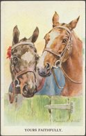 FE Valter - Horses - Yours Faithfully, 1957 - Valentine's Postcard - Paarden