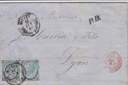 LETTRE ITALIE. 14 FEVR 1866. 40c. N° 22 TYPE I X 2. REDAELLI MILANO POUR LYON. ITALIE LANSLEBOURG 4.  /  2 - 1861-78 Victor Emmanuel II.