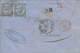 LETTRE ITALIE. 14 MAG 1867. 40c. N° 22 TYPE III X 2. LUZZATTO MILANO POUR LYON. ITALIE LANSLEBOURG 4.  /  2 - 1861-78 Victor Emmanuel II.