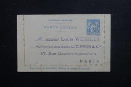 FRANCE - Entier Postal Type Sage ( Carte Lettre ) à Usage Commerciale Non Voyagé - L 48491 - Postal Stamped Stationery