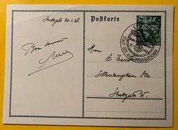 9543 - Entier Postal / Ganzache Stuttgart Zum 30.01.1938 - Allemagne