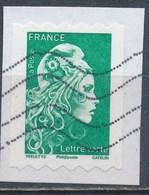 France - Marianne D'YZ - Roulette Lettre Verte YT A1601 Obl. Ondulations TSC1000 Sur Fragment - France