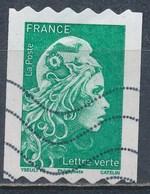 France - Marianne D'YZ - Roulette Lettre Verte YT A1601 Obl. Ondulations TSC1000 - France