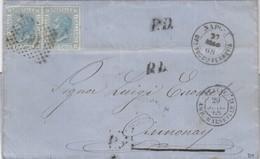 LETTRE ITALIE. 27 MAR 68. 40C. 20c X 2. 181 NAPOLI. UF°SUCCle FERROVIA POUR ANNONAY. PD. ITALIE AMB.MARSEILLE G  /  2 - 1861-78 Victor Emmanuel II.