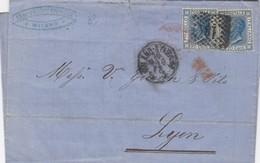 LETTRE ITALIE. 16 MAG 73. 40C. 20c X 2. 181 MILANO POUR LYON. PD. ITALIE LANZBOURG  /  2 - 1861-78 Victor Emmanuel II.