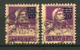 15875 SUISSE N°183a° (surcharge Bleue)  20c. S. 15c. Violet  Guillaume Tell + Normal  (non Fourni)  1921  TB - Gebruikt