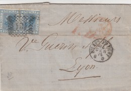 LETTRE ITALIE. 14 GEN 74. 40C. 20c X 2. 181 MILANO POUR LYON. PD. ITALIE LANZBOURG 4   /  2 - 1861-78 Victor Emmanuel II.