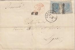 LETTRE ITALIE. 14 GEN 68. 40C. 20c X 2. 119 PESARO POUR LYON. PD. ITALIE LANZBOURG 4   /  2 - 1861-78 Victor Emmanuel II.