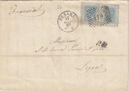 LETTRE ITALIE. 17 GIO 68. 40C. 20c X 2. 119 PESARO POUR LYON. PD.   /  2 - 1861-78 Victor Emmanuel II.