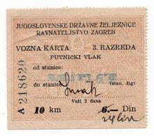01.10.1945. YUGOSLAVIA, CROATIA, RAILWAY TICKET, 3RD CLASS, RIJEKA TO SUSAK - Transportation