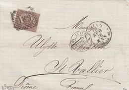 LETTRE ITALIE. 18 APR 73. 30c. 189 TORINO POUR ST VALLIER. PD. ITALIE AMB. MARSEILLE B  /  3 - 1861-78 Victor Emmanuel II.