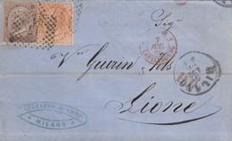 LETTRE ITALIE. 5 LUG 66. 40c. 30c +10c. 17 MILANO POUR LYON. PD. ITALIE LANSLEBOURG 4  /  3 - 1861-78 Victor Emmanuel II.