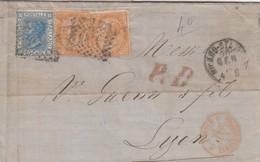 LETTRE ITALIE. 20 JANV 74. 40c. 20c +10c X 2. 181 MILANO POUR LYON. PD. ITALIE LANSLEBOURG 4  /  3 - 1861-78 Victor Emmanuel II.