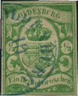 1861, 1/3 Groschen Grün/weißes Papier Gestempelt, Doppelt Signiert G. Bühler - Mi.-Nr. 10a (1.000,-) - Oldenburg