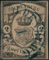 1859, 2 Groschen Vollrandig Gestempelt OLDENBURG. Signiert G. Bühler- Mi.-Nr. 7 (700,-) - Oldenburg