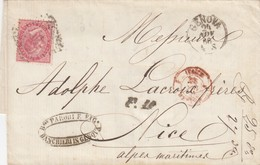 LETTRE ITALIE. 24 NOV 66. 40c.  GENOVA POUR NICE. PD. ITALIE LANSLEBOURG 4  /  3 - 1861-78 Victor Emmanuel II.