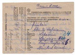 08.09.1946.YUGOSLAVIA, SERBIA, POW- PRISONER OF WAR MAIL, RUSSIAN ZONE, BELGRADE TO LEIPZIG, GERMANY - 1945-1992 Socialist Federal Republic Of Yugoslavia