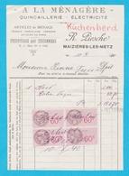 Maizières Les Metz Ancienne Facture Quincaillerie électricité Avec Timbres Fiscaux - 1900 – 1949