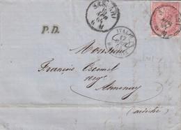 LETTRE ITALIE. 15 APR 64. 40c.  SASSARI POUR ANNONAY. PD. ITALIE MARSEILLE NOIR  /  3 - 1861-78 Victor Emmanuel II.