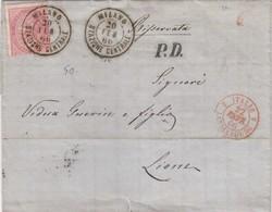 LETTRE ITALIE. 20 FEB 66. 40c.  MILANO POUR LYON. PD. ITALIE LANSLEBOURG 4  /  3 - 1861-78 Victor Emmanuel II.
