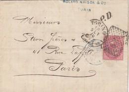 LETTRE ITALIE. 18 SEPT 75. 40c.  189 TORINO POUR LYON. PD. ITALIE MODANE  /  3 - 1861-78 Victor Emmanuel II.